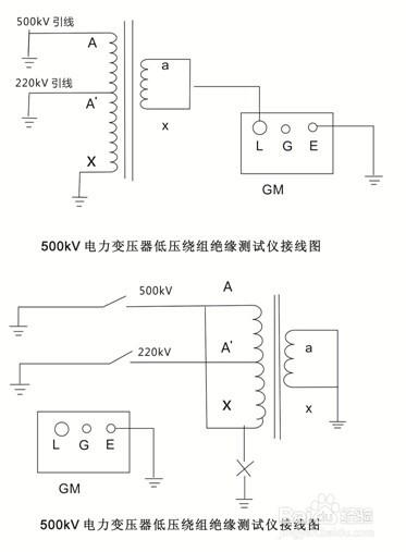 变电站变压器,电缆的绝缘电阻测量接线图